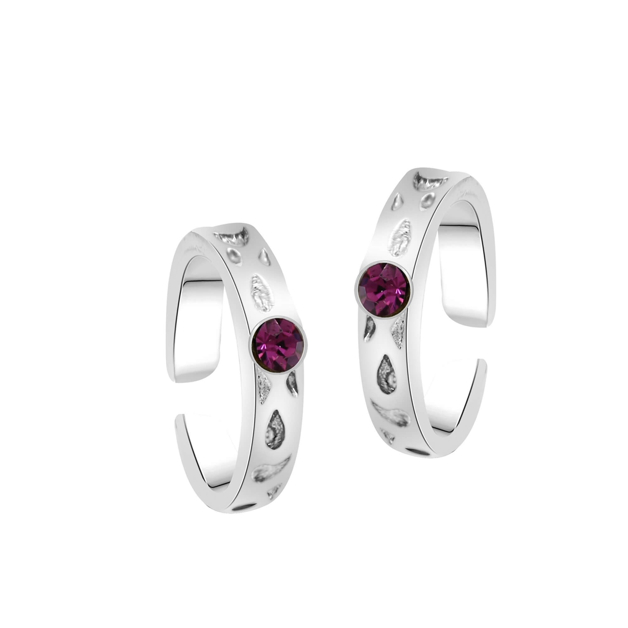 Rhodium Plated Valantine Pink Solitaire Toe Rings With Crystal Inside Most Current Crystal Toe Rings (View 12 of 15)