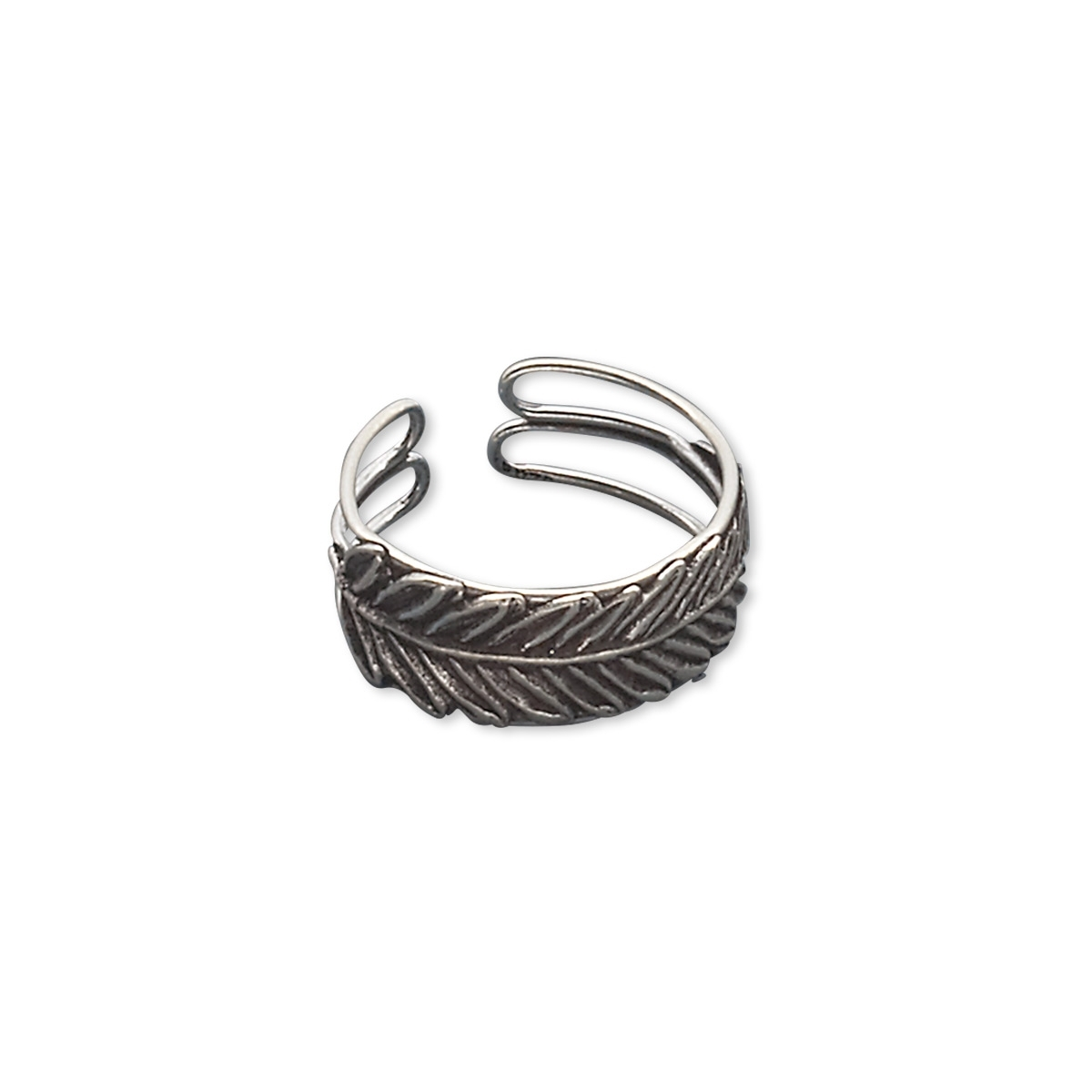 Ring, Antiqued Sterling Silver, 8mm Wide With Feather Design In Newest Feather Toe Rings (View 1 of 15)