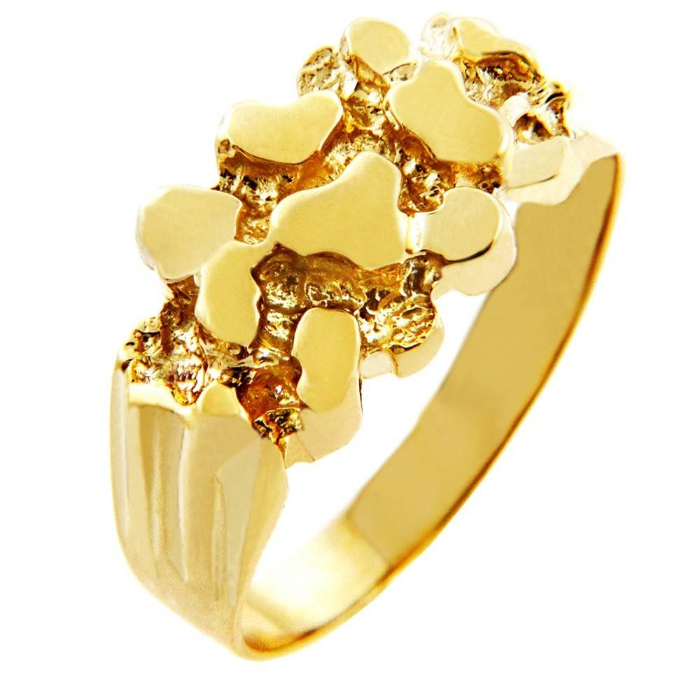 Rock Solid Gold Nugget Ring For Newest 10k Gold Toe Rings (View 14 of 25)