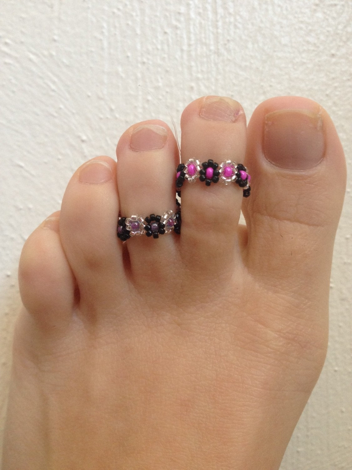 Sale Flower Toe Ring Beaded Toe Ring Stretch Flower Ring Within Latest Beaded Toe Rings (View 8 of 15)