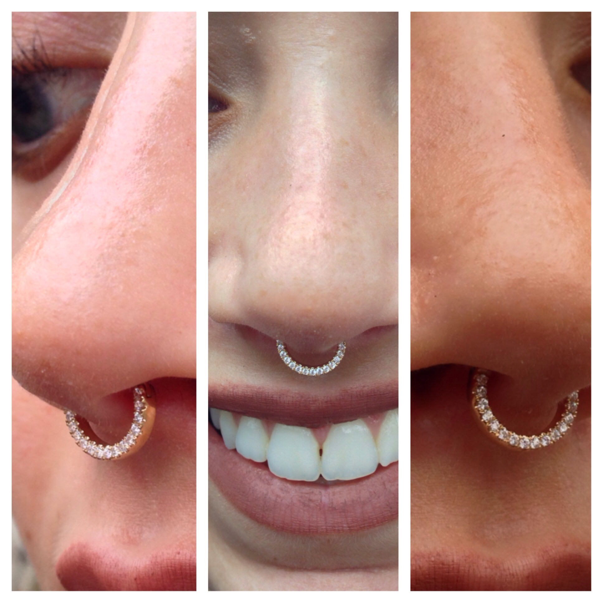 Septum Piercing With A 14K Yellow Gold Septum Clicker With White Pertaining To Latest Chevron Septum Rings (View 10 of 15)