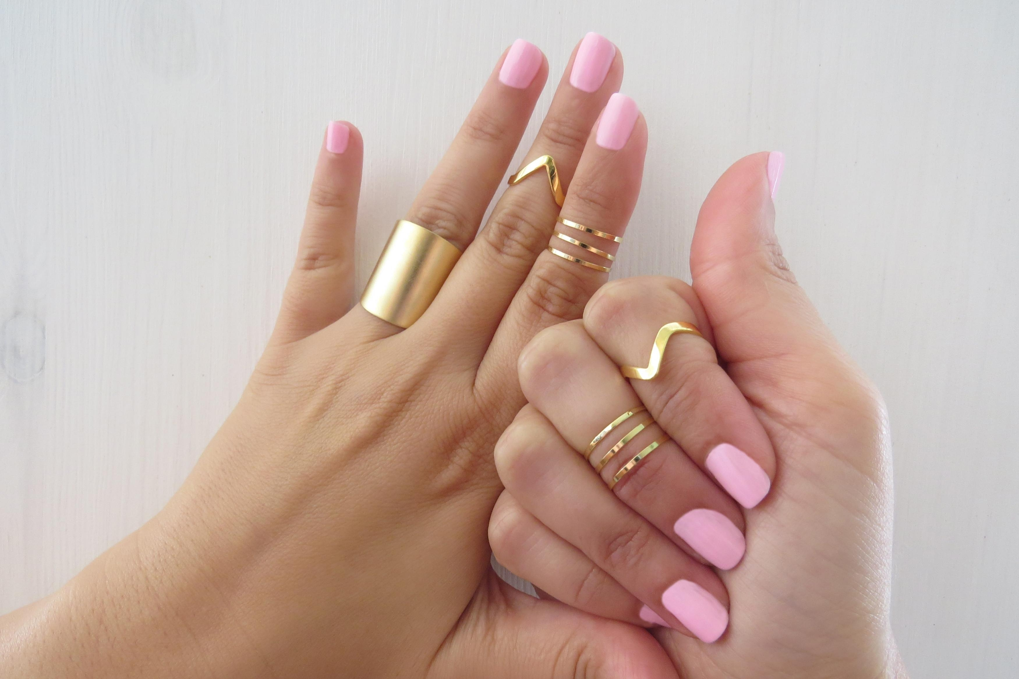 Set Of 9 Gold Stacking Rings, Gold Knuckle Ring, Band Ring Inside Most Current Chevron Midi Rings (View 1 of 15)