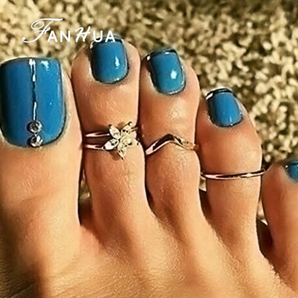 Sexy Finger Foot Jewelry Boho Chic Silver Color With Rhinestone With Regard To Recent Flower Toe Rings (Gallery 14 of 15)
