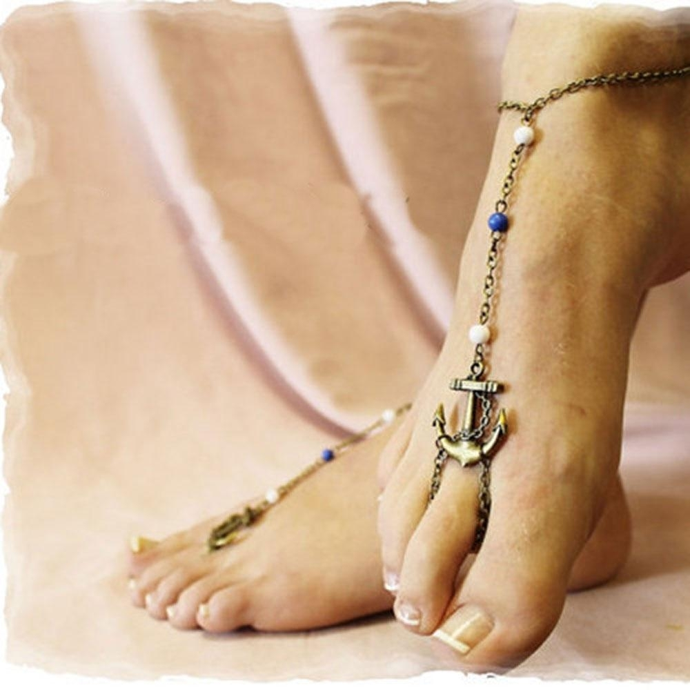 Sexy Women Bronze Anchor Charm Anklet Ankle Toe Ring Sandal Chain Inside Recent Ankle Bracelet Toe Rings (Gallery 12 of 25)