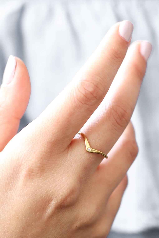 Shlomit Ofir | Solid Gold Diamond Chevron Ring – Shlomit Ofir For 2017 Chevron Finger Rings (View 15 of 15)