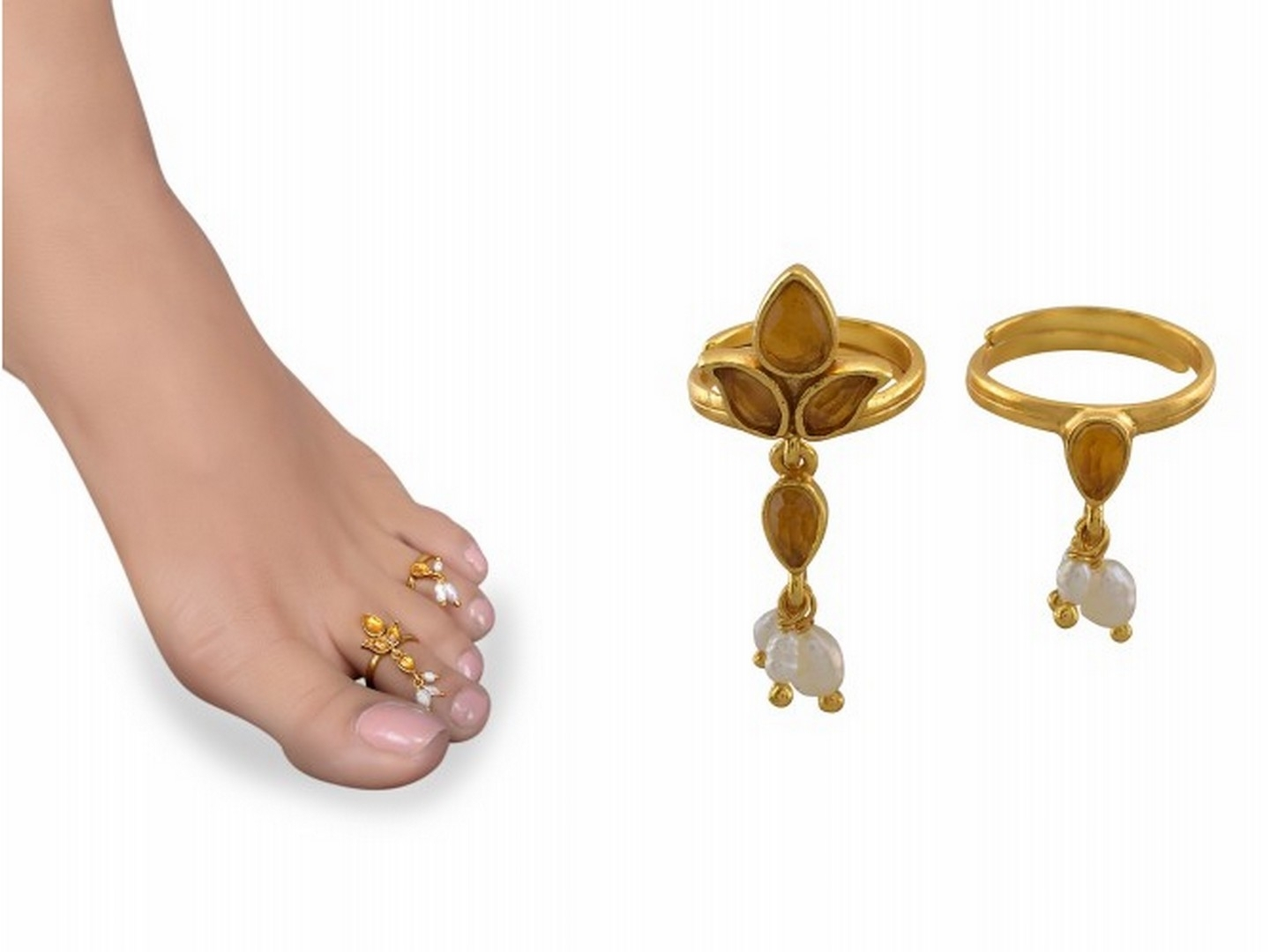 Shopzters | Be The Queen Of Mahismathi – Get Ready For The Pertaining To Newest Pearl Toe Rings (View 14 of 15)