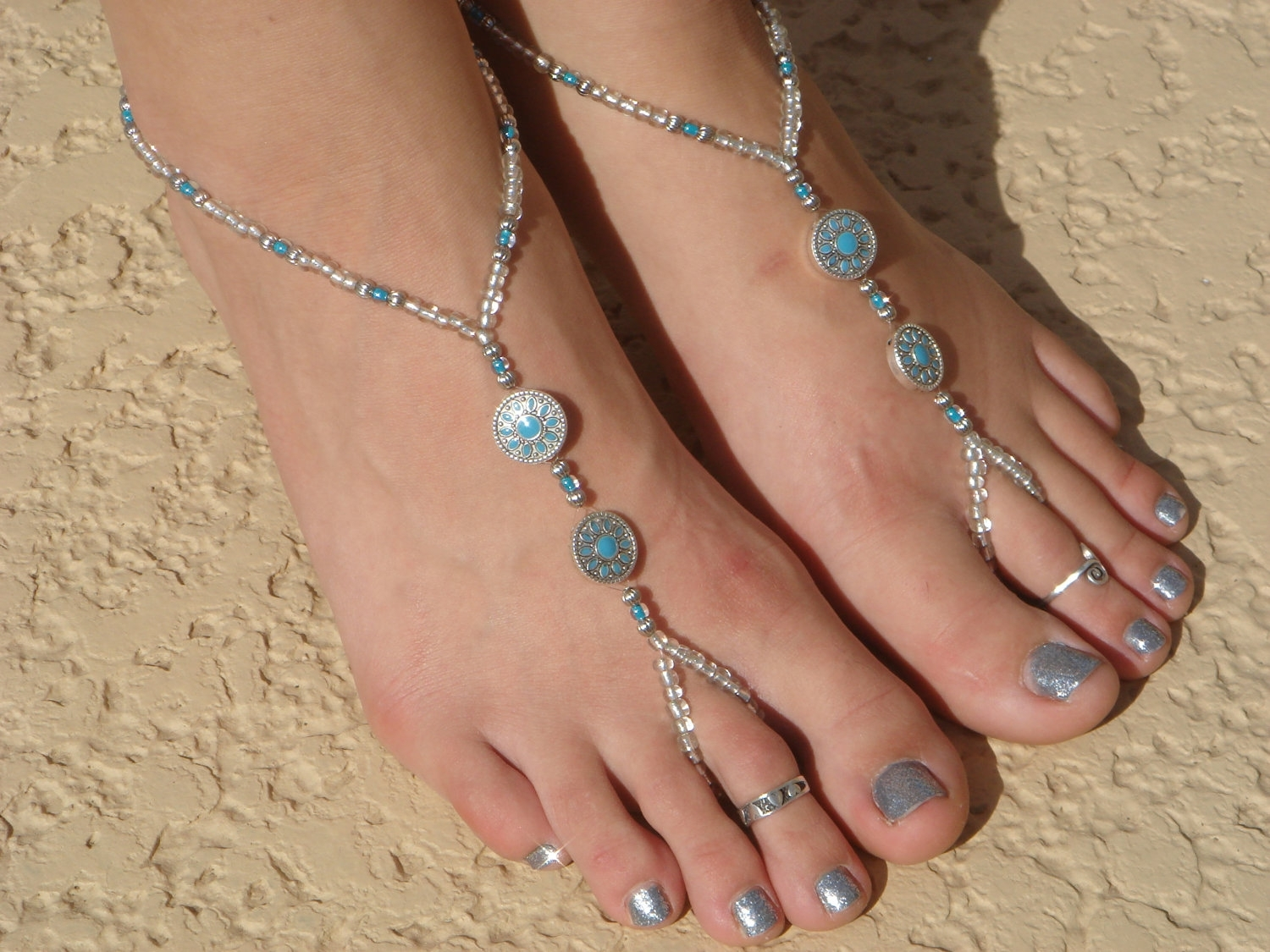 Silver And Turquoise Cross Barefoot Sandals, Slave Anklet, Foot Inside Most Current Feather Toe Rings (Gallery 14 of 15)