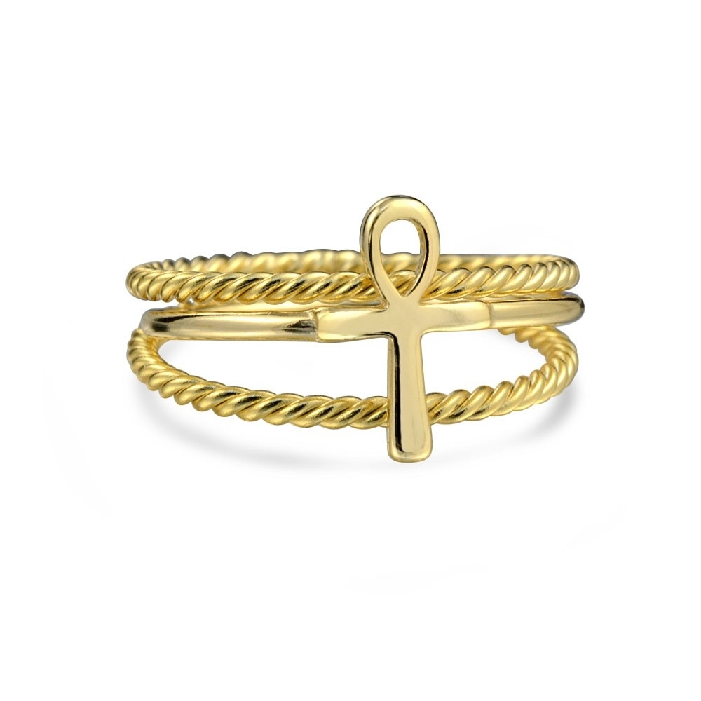 Silver Ankh Cross Twisted Cable Stacked Midi Ring Set Gold Plated Intended For Current Gold Plated Toe Rings (View 12 of 15)