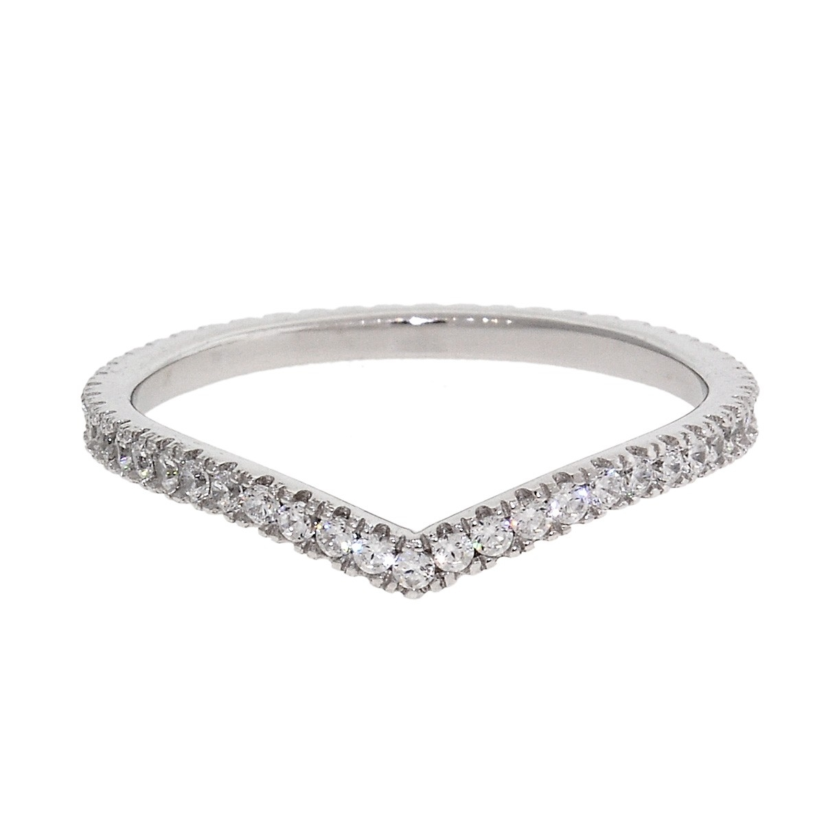 Silver Chevron Cz Eternity Ring – Gold Plated Rings – Rings – Jewelry Within Most Recently Released Chevron Eternity Rings (View 14 of 15)