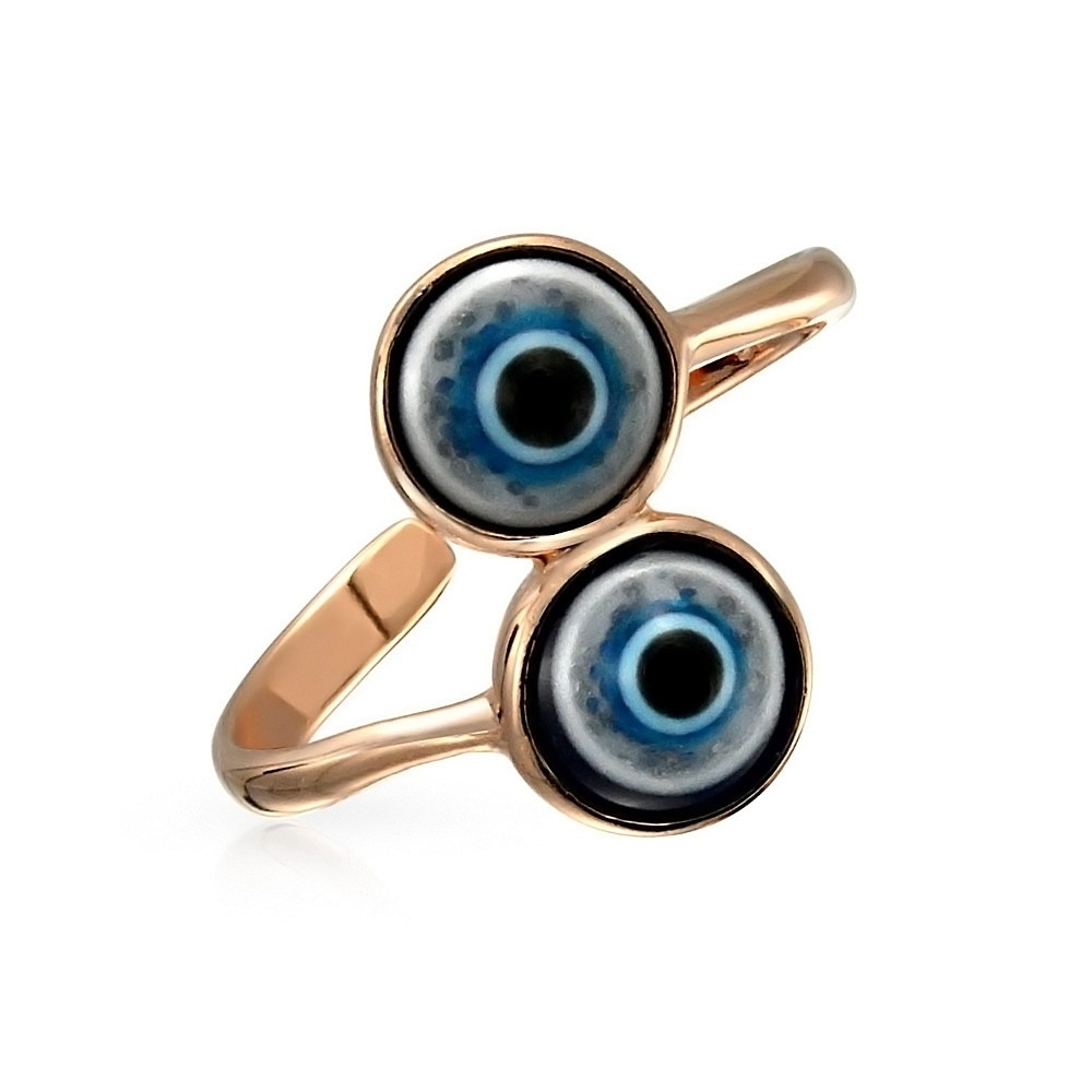 Silver Double Evil Eye Midi Adjustable Rose Gold Plated Toe Ring Intended For Most Current Gold Plated Toe Rings (View 13 of 15)