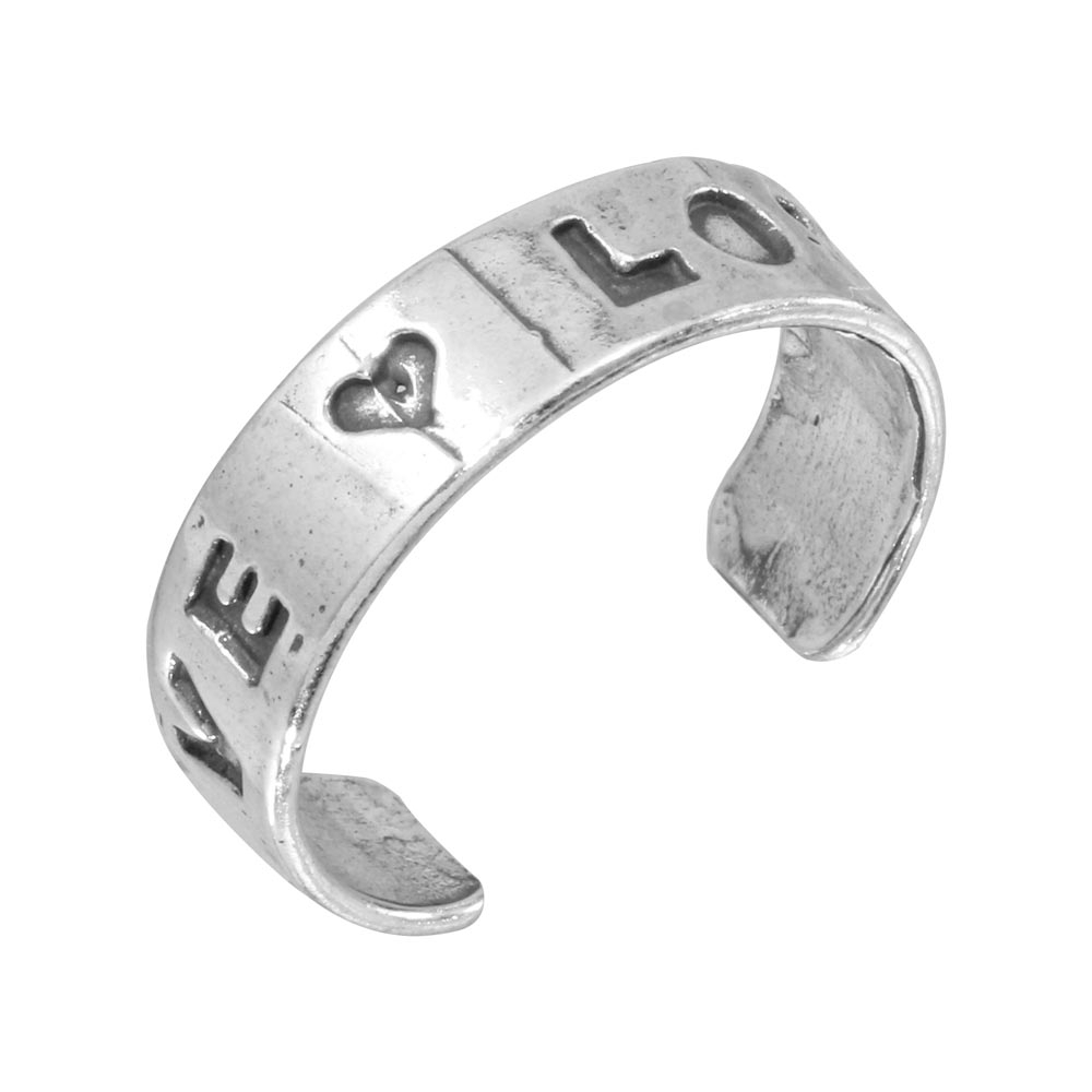 Silver Engraved Love Adjustable Toe Ring – Tr147 A Within Most Recent Engraved Toe Rings (Gallery 7 of 15)