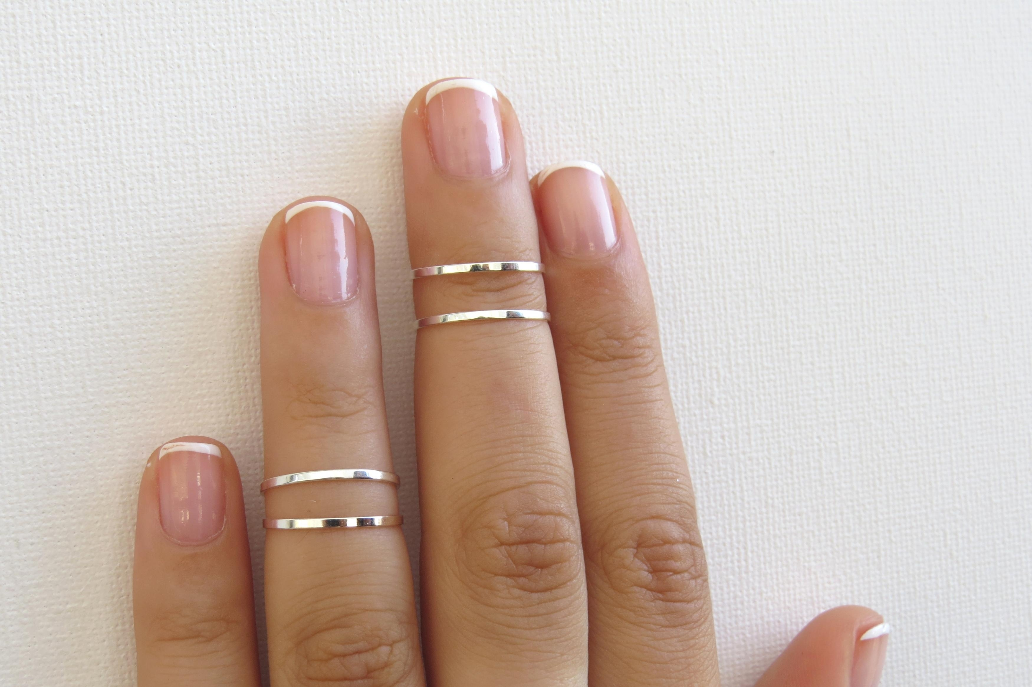 Silver Knuckle Rings – Silver Stacking Rings, Thin Silver Shiny In Latest Chevron Knuckle Rings Sets (View 14 of 15)