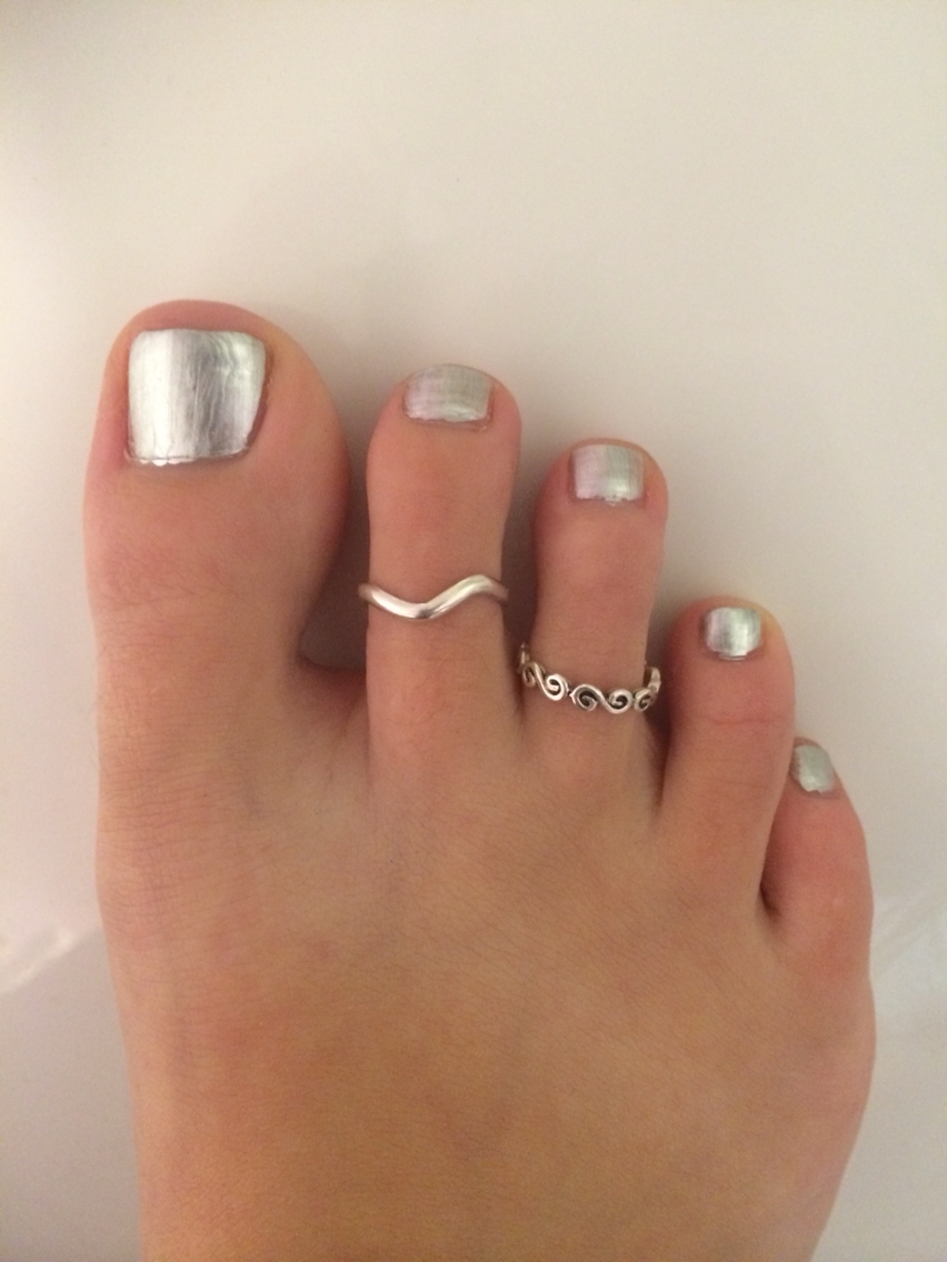 Silver Painted Toe Nails With Permanent Silver Toe Rings #nailart For Most Recently Released Permanent Toe Rings (View 6 of 15)