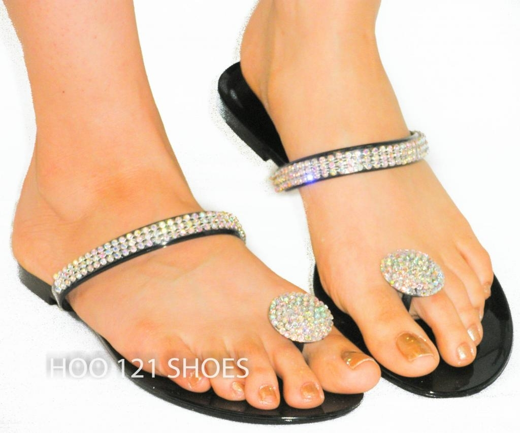 So Cute! Rhinestone Jelly Thong Sandal*toe Ring Flip Flops Jellies Pertaining To Recent Sandals Rhinestone Toe Rings (Gallery 1 of 15)