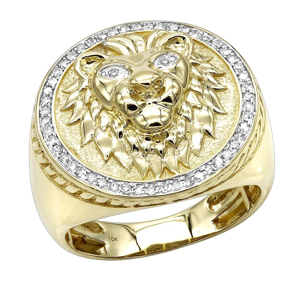 Solid 10k Gold Lion Head Diamond Ring For Men (View 10 of 25)