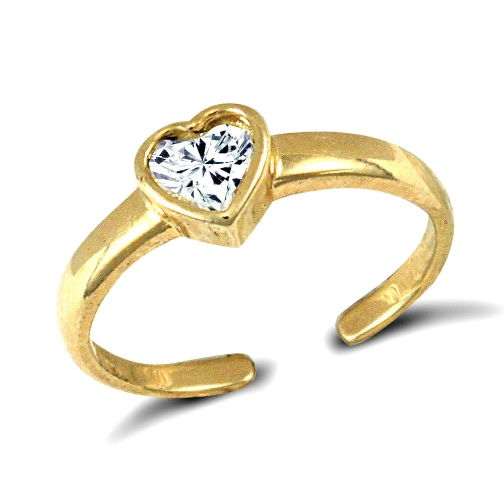 Solid 9Ct Yellow Gold White Heart Cubic Zirconia Solitaire Love With 2017 Toe Rings With Cubic Zirconia (View 11 of 15)