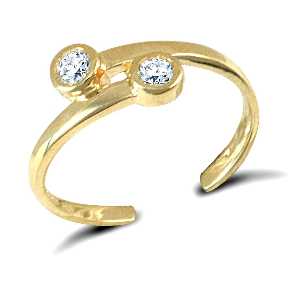 Solid 9Ct Yellow Gold White Round Brilliant Cubic Zirconia Cross Intended For Most Recent Toe Rings With Cubic Zirconia (View 12 of 15)