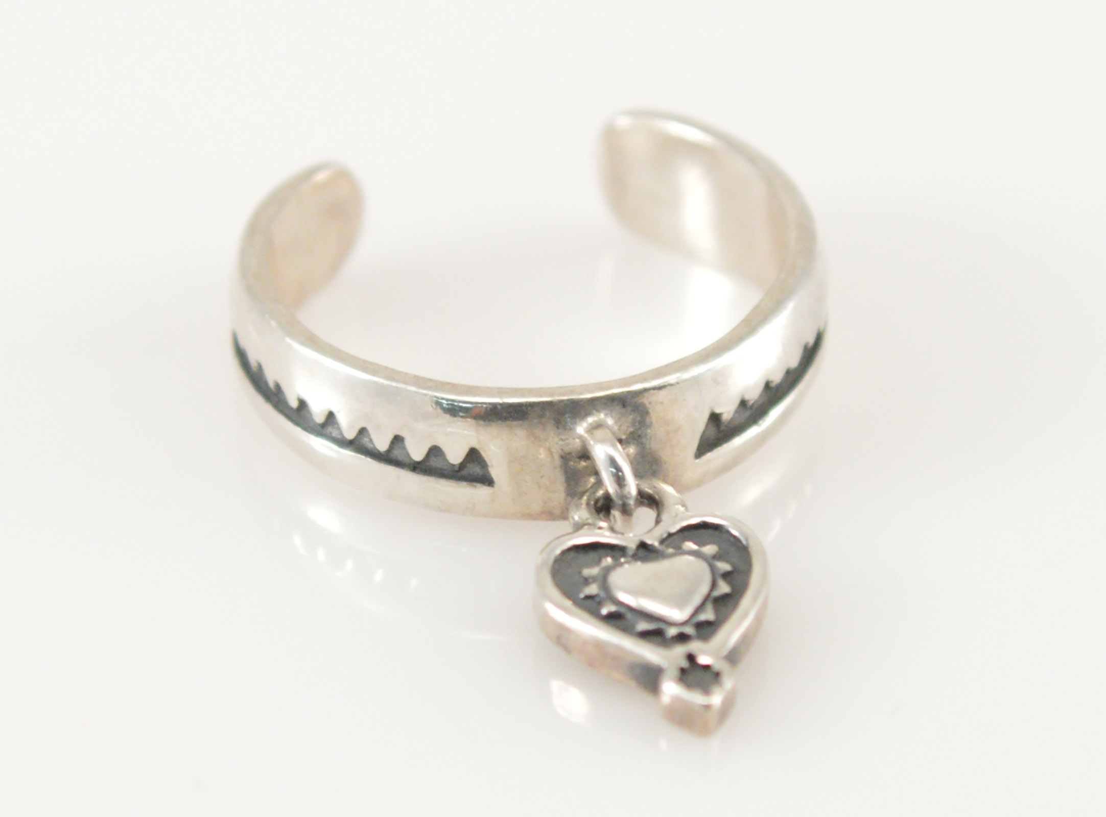 Solid Silver Silpada Toe Ring With Heart Dangle Adjustable Regarding Most Popular Non Adjustable Toe Rings (View 6 of 15)