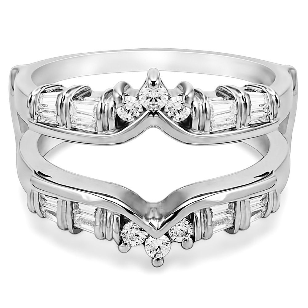 Solitaire Wedding Ring Guard Enhancer For Tiffany Solitaires With Regard To 2017 Chevron Style Diamond Rings (View 5 of 15)