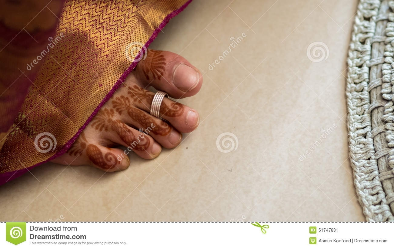 South Indian Brides Foot Stock Image. Image Of Henna – 51747881 For Most Up To Date Indian Toe Rings (Gallery 15 of 15)