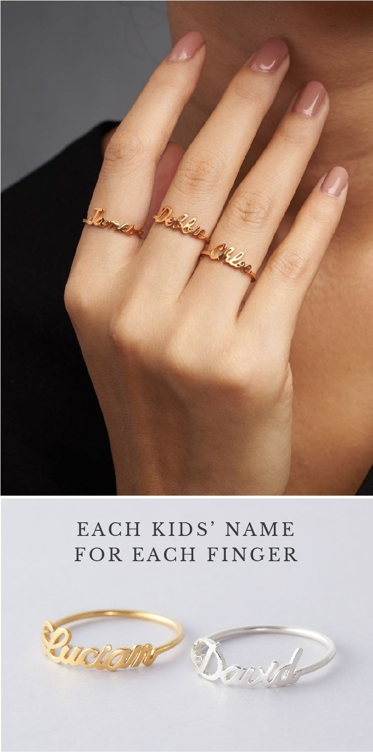 Stackable Name Ring • Baby Name Rings • Personalized Name Rings Pertaining To Newest Personalized Toe Rings (View 14 of 15)