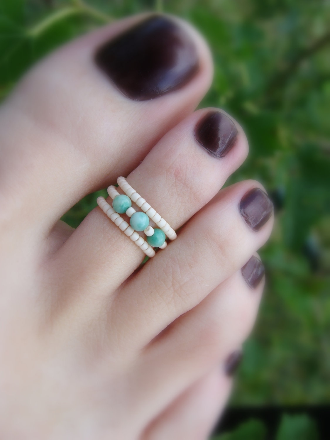 Stacking Toe Ring – Natural Jasper Stones – Apricot – Micro Beads Pertaining To Latest Toe Rings With Stones (View 11 of 15)