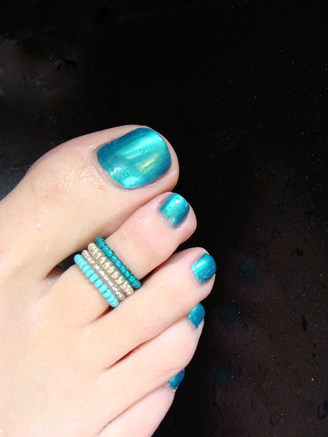 Stacking Toe Ring – Turquoise – Silver – Light Pink  Stretch Bead Throughout Most Recent Chevron Toe Rings (View 12 of 15)