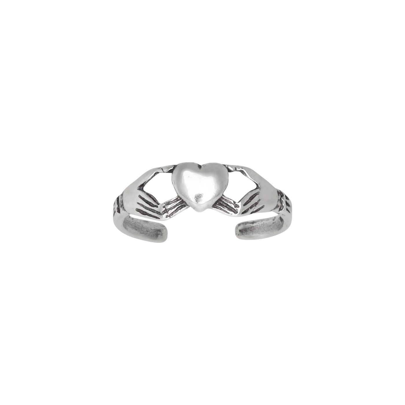 Sterling Silver .925 Irish Claddagh Heart Toe Ring Adjustable Size Within Recent Claddagh Toe Rings (Gallery 2 of 15)