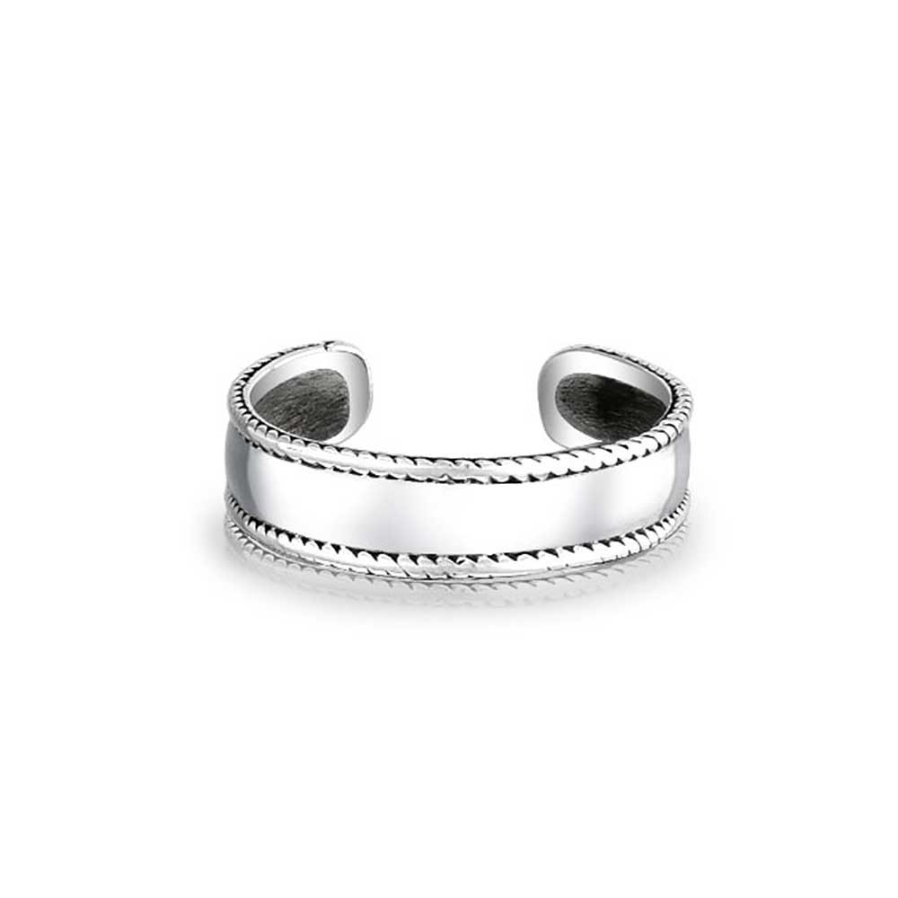 Sterling Silver Braided Bali Rope Toe Rings Adjustable Midi Ring For 2017 Silver Toe Rings (View 13 of 15)