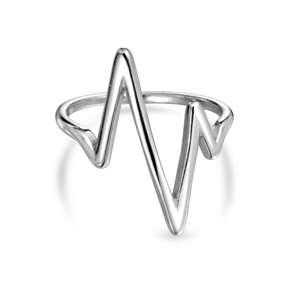 Sterling Silver Chevron Midi Ring Lightning Bolt Stackable Rings Pertaining To Most Current Chevron Midi Rings (View 7 of 15)