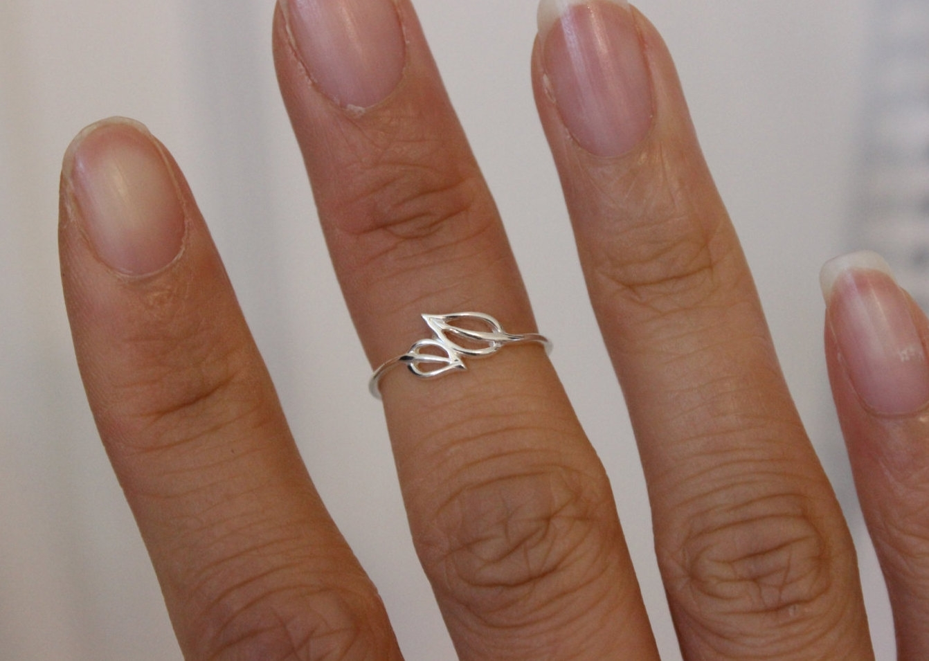 Sterling Silver Double Leaf Midi Ring, Adjustable Leaf Toe Ring Within Best And Newest Stackable Toe Rings (View 13 of 15)