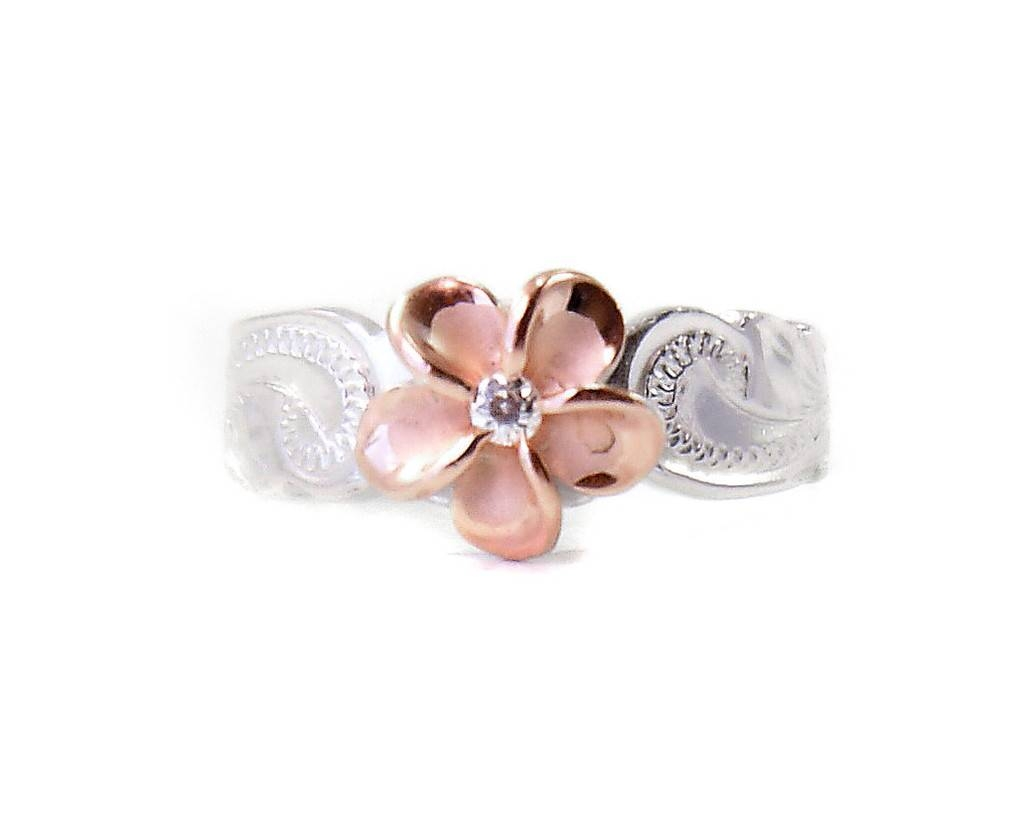 Sterling Silver Hawaiian Plumeria Toe Ring – Two Tone Rose Gold Intended For Best And Newest 10k Gold Toe Rings (View 17 of 25)