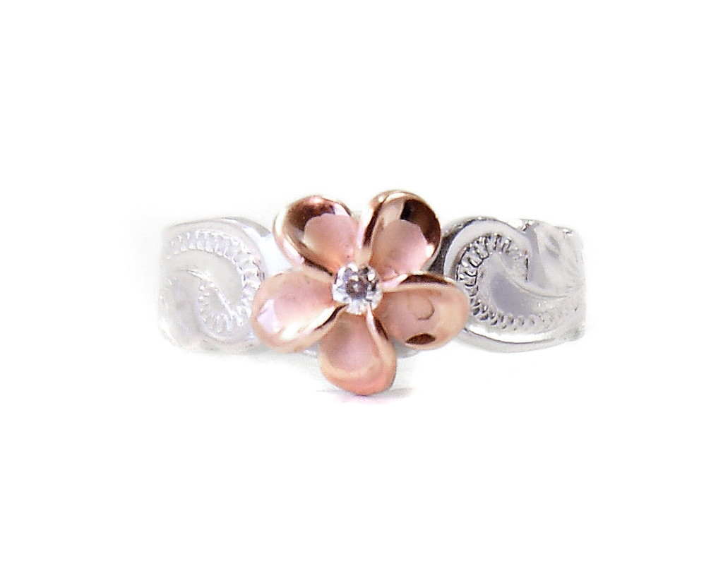 Sterling Silver Hawaiian Plumeria Toe Ring – Two Tone Rose Gold Regarding Most Popular Hawaii Toe Rings (View 13 of 15)