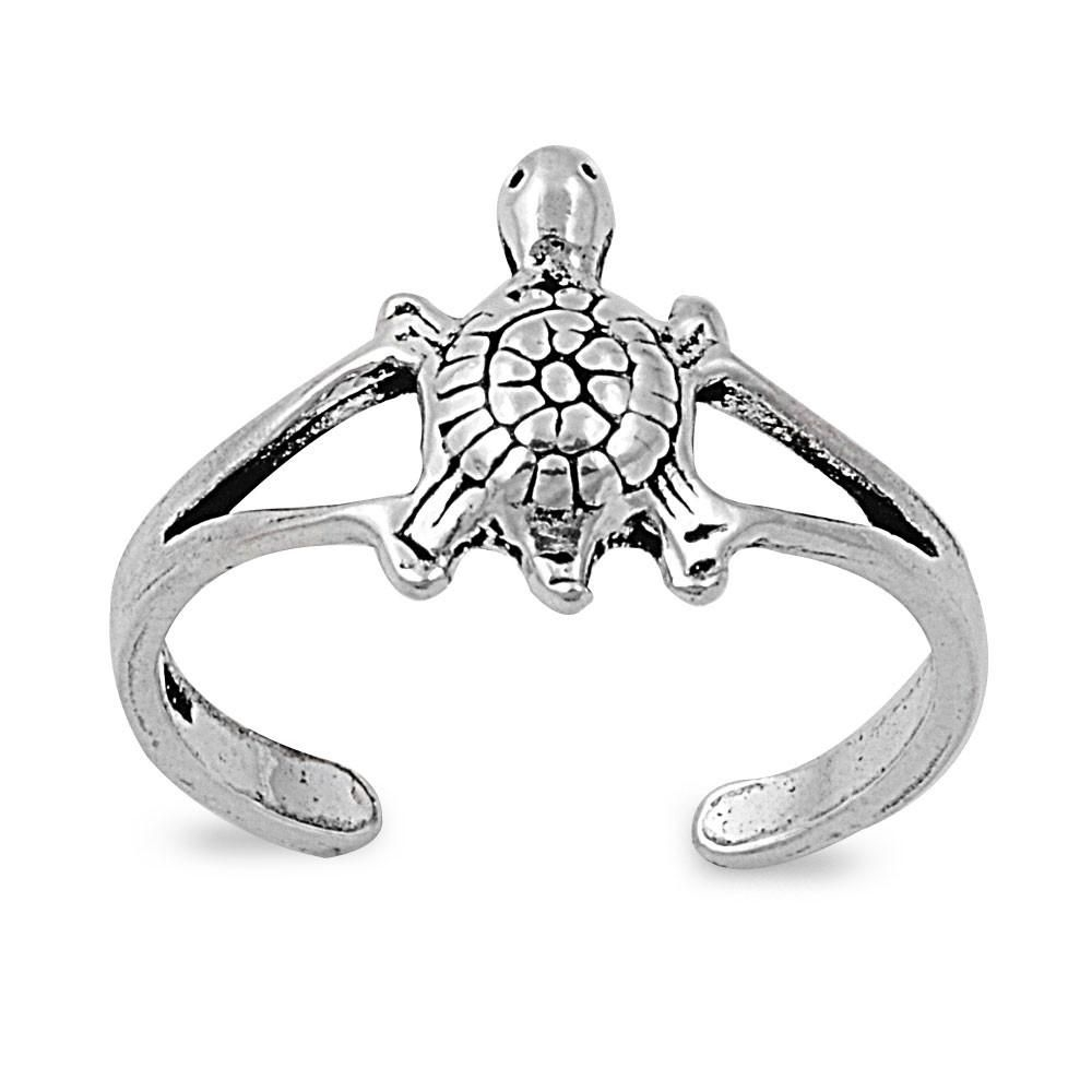 Sterling Silver Lonesome Turtle 10Mm Toe Ring/ Knuckle/ Mid Finger Throughout Current Turtle Toe Rings (View 6 of 15)