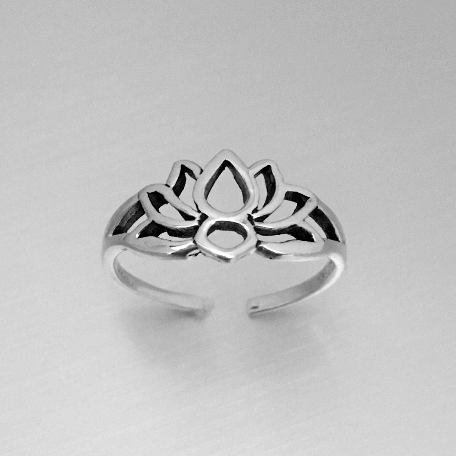 Sterling Silver Lotus Silhouette Toe, Midi And Pinky Ring With Most Current Etsy Toe Rings (Gallery 1 of 15)