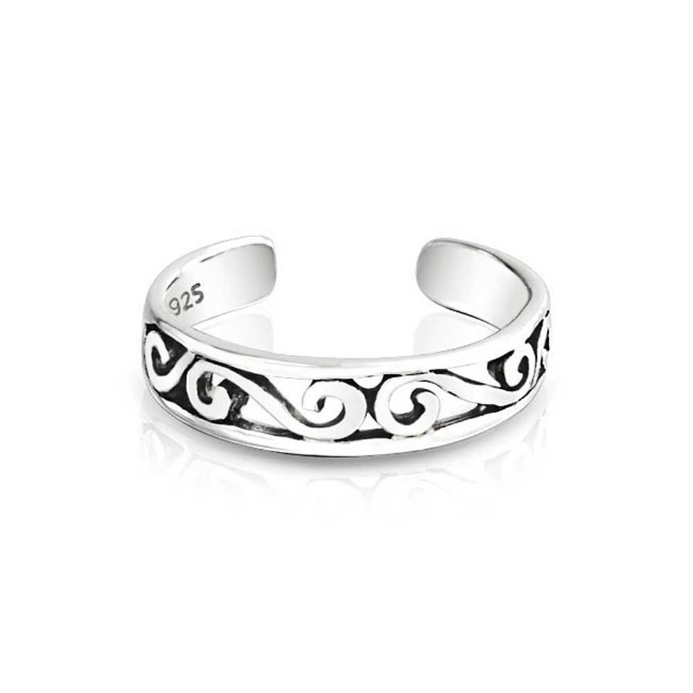 Sterling Silver Mid Finger Ring Adjustable Celtic Swirl Toe Rings In Most Recent Platinum Toe Rings (View 5 of 15)