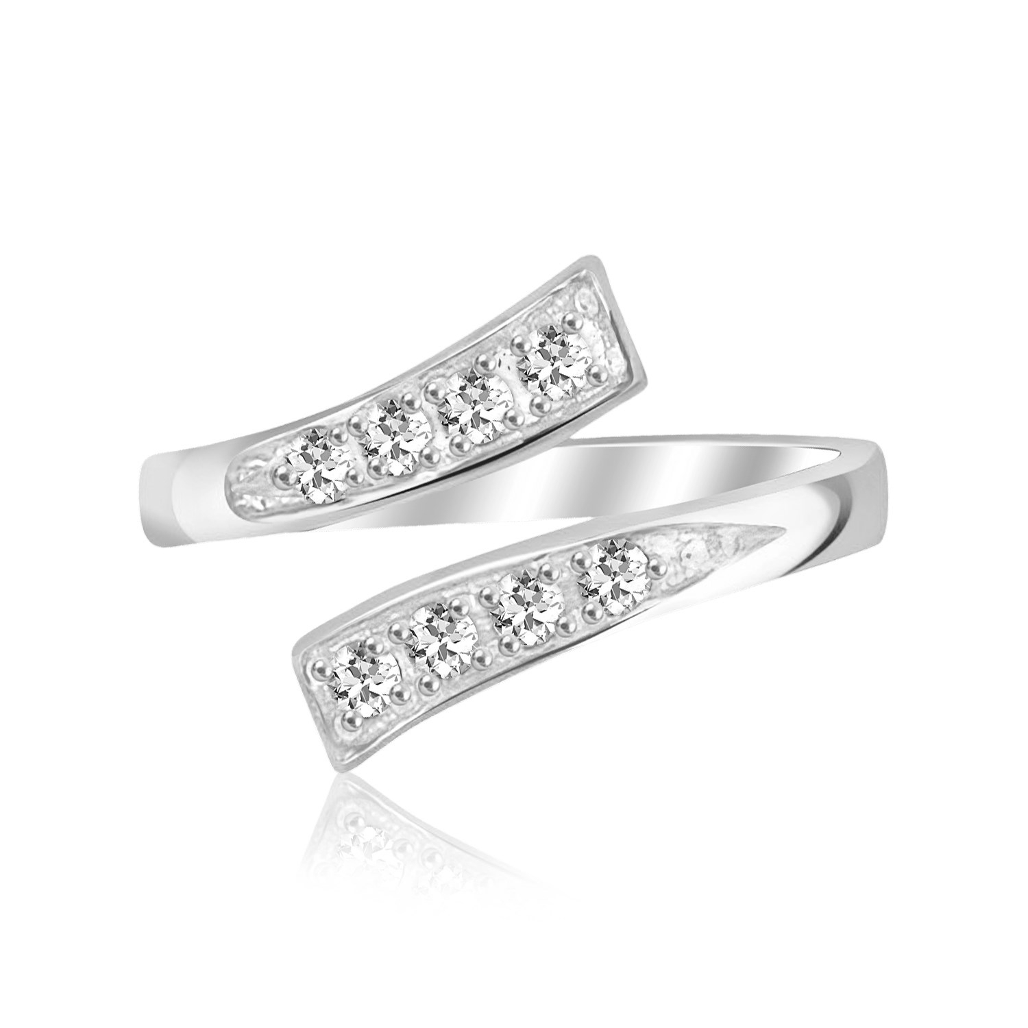 Sterling Silver Rhodium Plated Toe Ring With White Cubic Zirconia Intended For 2018 Toe Rings With Cubic Zirconia (View 13 of 15)