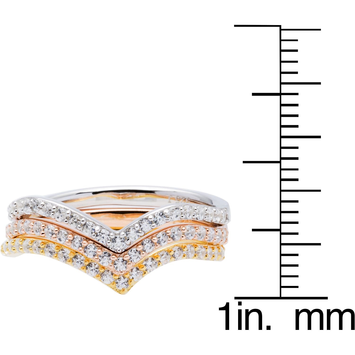 Sterling Silver Set Of 3 Tri Color Chevron Cubic Zirconia Inside Newest Chevron Napkin Rings (Gallery 339 of 339)