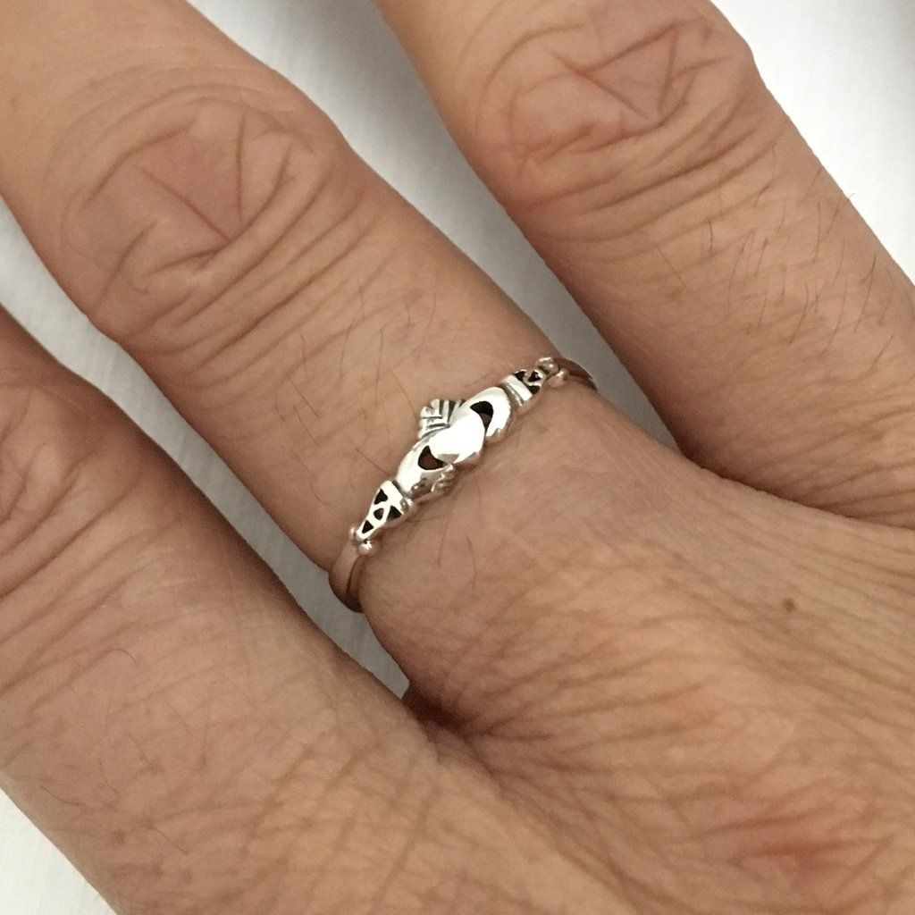 Sterling Silver Tiny Claddagh Ring, Silver Rings, Ring | Silver With Regard To 2018 Claddagh Toe Rings (Gallery 9 of 15)