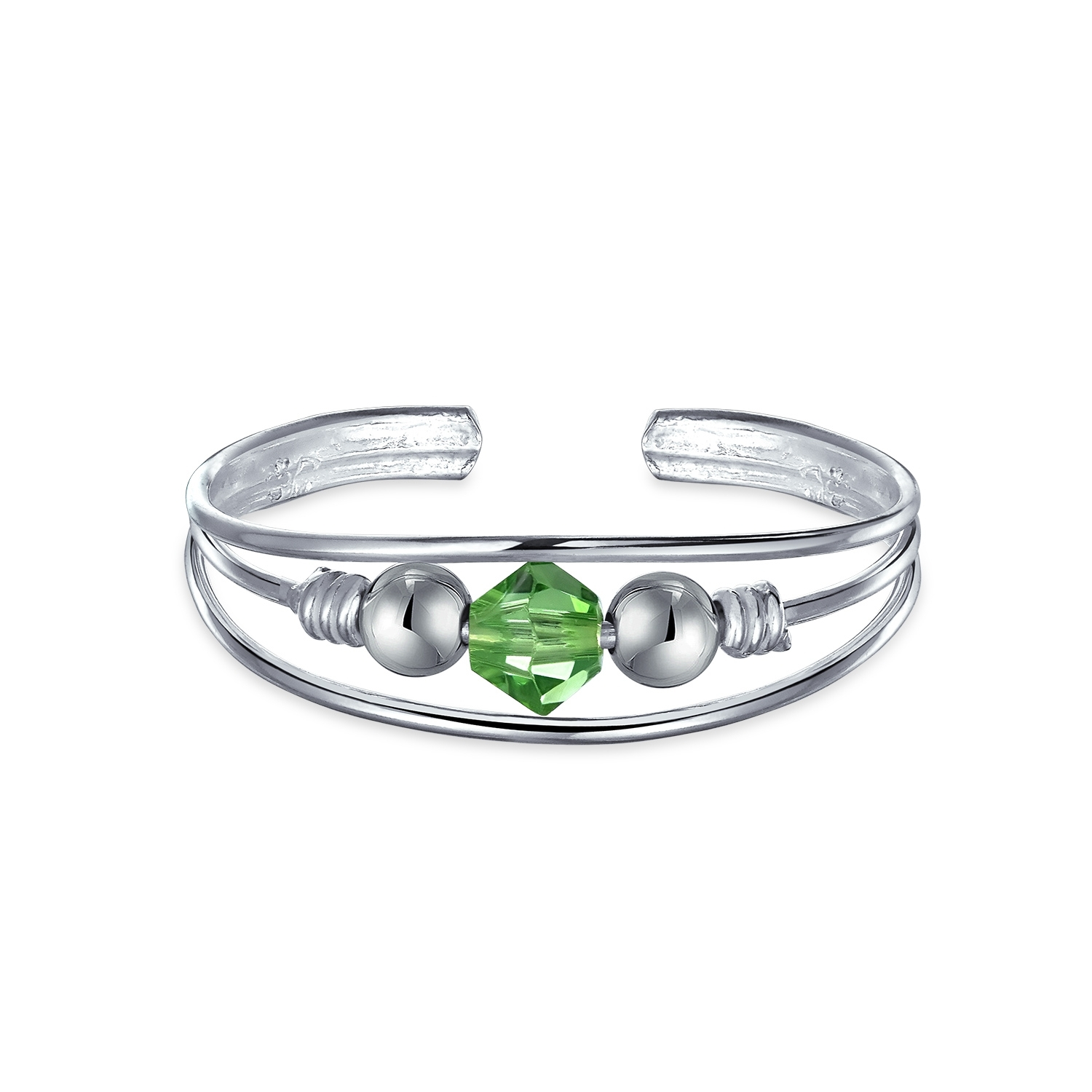 Sterling Silver Toe Ring Peridot Color Crystal August Birthstone Inside Most Up To Date Birthstone Toe Rings (View 2 of 15)