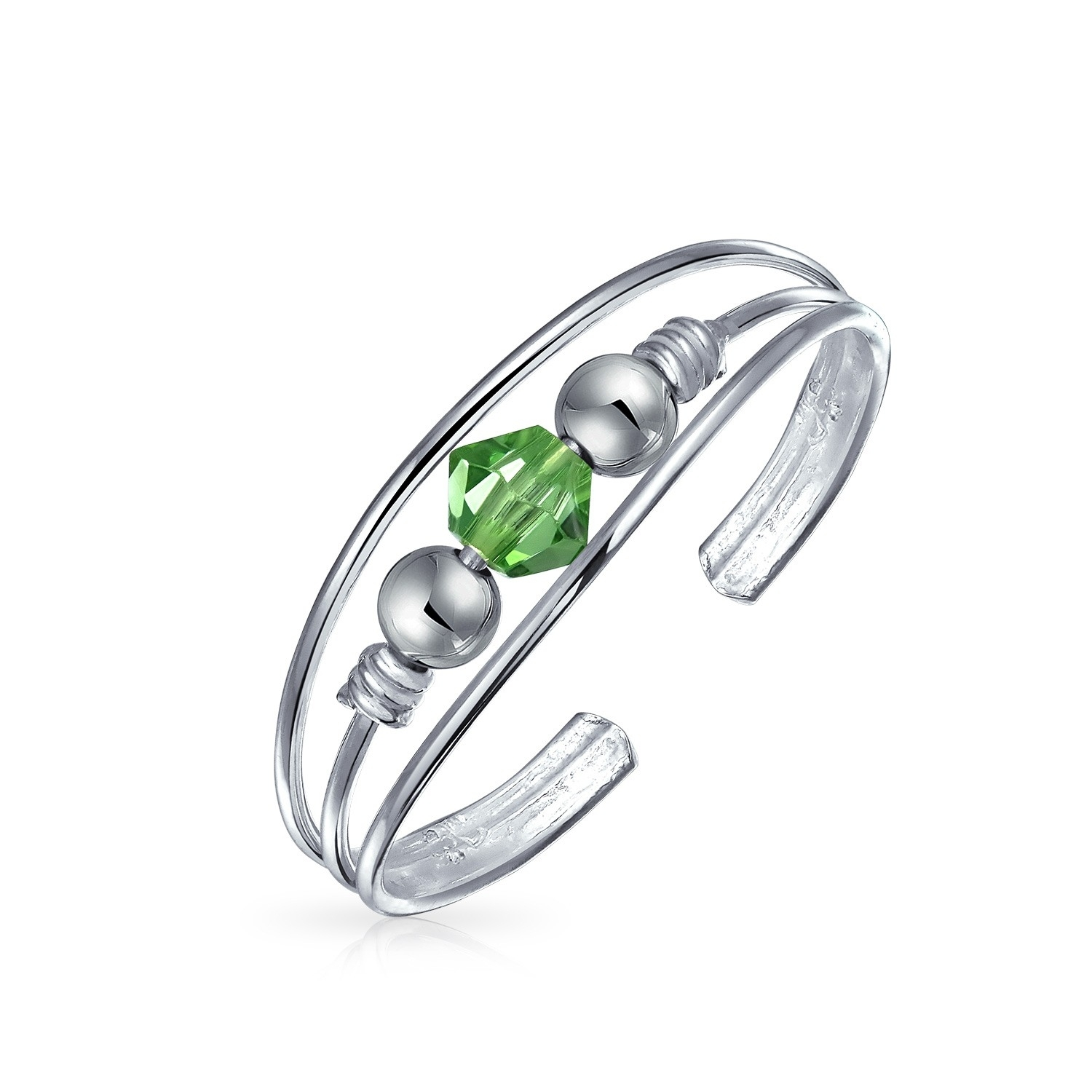 Sterling Silver Toe Ring Peridot Color Crystal August Birthstone With Current Birthstone Toe Rings (Gallery 2 of 15)