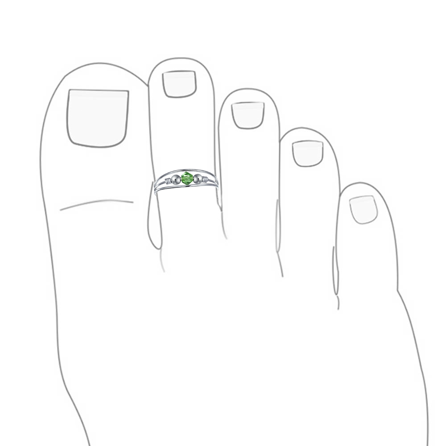 Sterling Silver Toe Ring Peridot Color Crystal August Birthstone With Regard To Most Recent Birthstone Toe Rings (View 4 of 15)