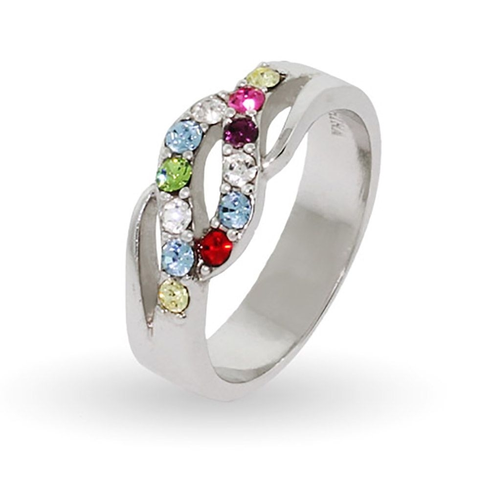 Sterling Silver Wave Of Love Mothers Ring – 12 Birthstones | Wave Pertaining To Most Recently Released Chevron Mothers Rings (View 2 of 15)
