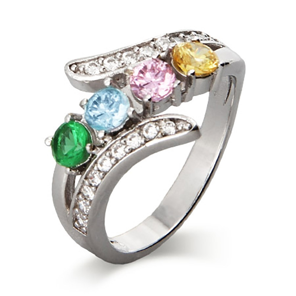 The 4 Stone Cz Bypass Birthstone Mother's Ring Features 4 Custom Inside Recent Chevron Mothers Rings (Gallery 1 of 15)