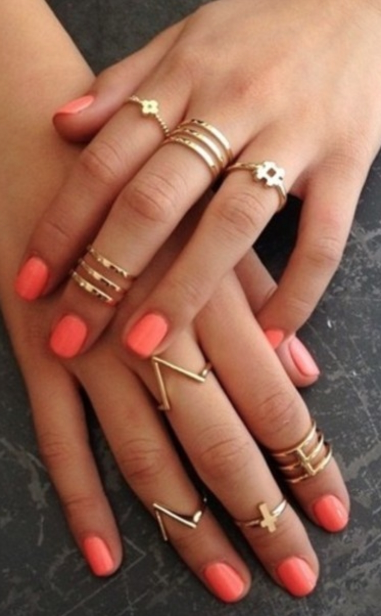 The Art Of Wearing Adorable Tiny Rings | Coral Nails, Gold Rings Intended For Latest Diy Chevron Knuckle Rings (View 13 of 15)