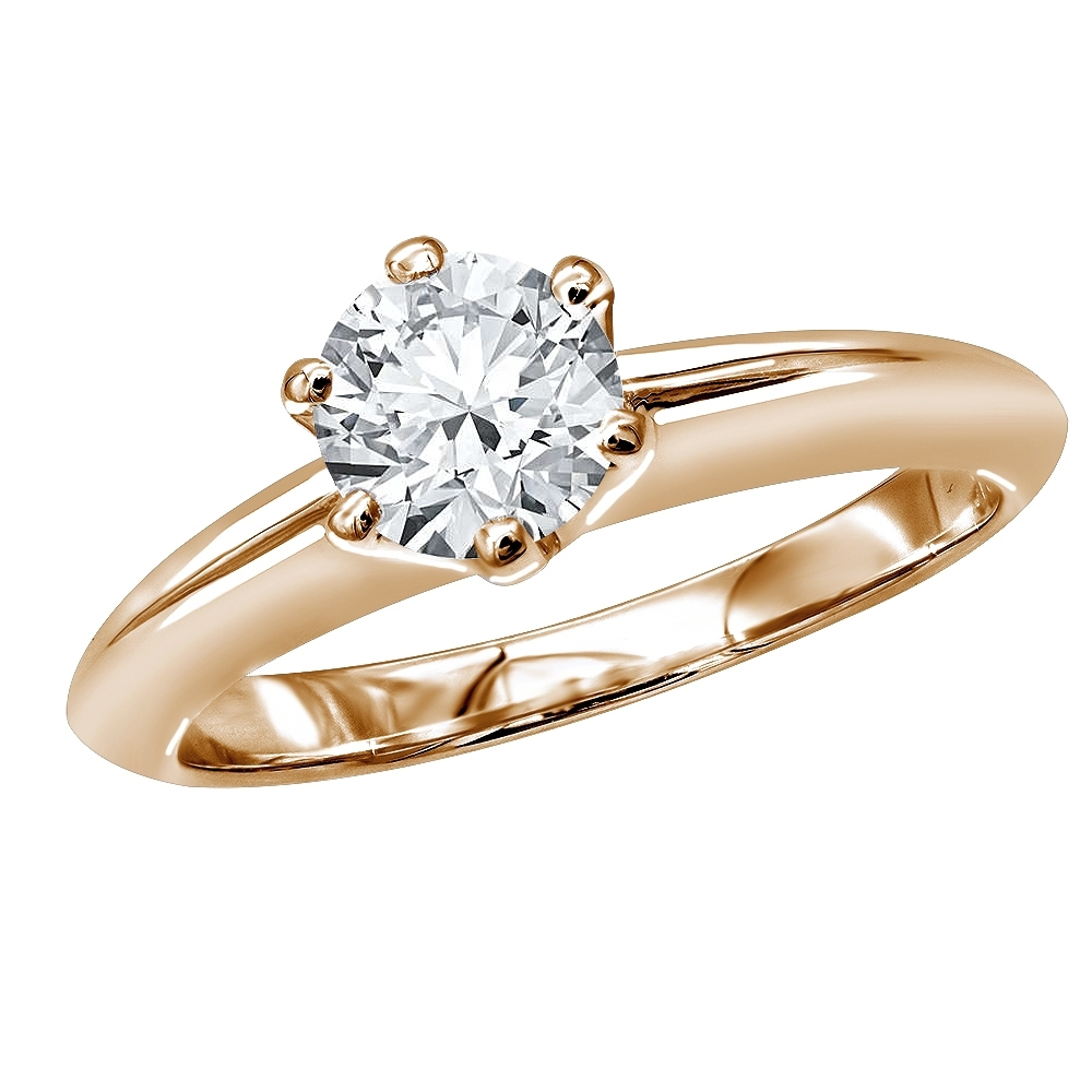 Tiffany Style Round Diamond Solitaire Engagement Ring In 18K Gold Throughout Newest Tiffany Toe Rings (View 12 of 15)