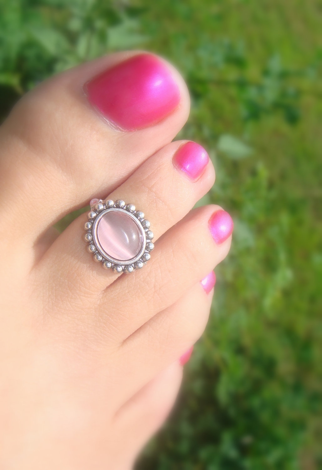 Toe Ring, Pink Glass, Silver Bead, Beaded Toe Ring. $ (View 12 of 15)