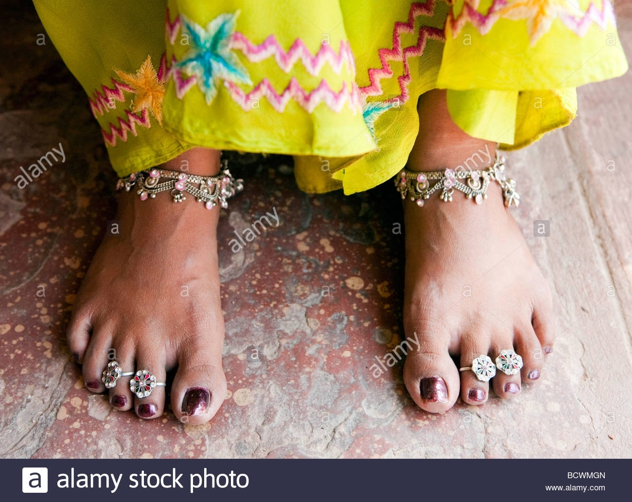 Toe Rings On An Indian Woman Rajasthan India Stock Photo: 25151189 Pertaining To Newest Indian Toe Rings (View 11 of 15)