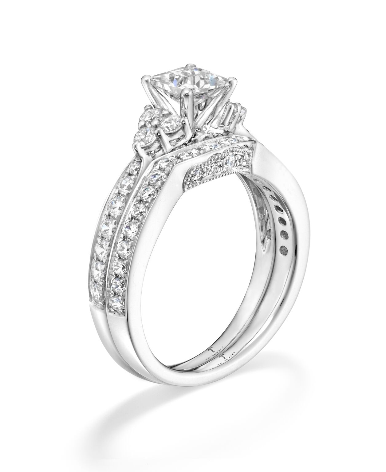 Tolkowsky Diamond Bridal Set In 14K White Gold (View 15 of 15)