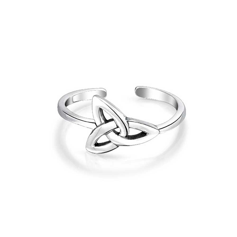 Triquetra Celtic Knot Midi Ring 925 Silver Adjustable Toe Rings For Most Popular Platinum Toe Rings (Gallery 3 of 15)